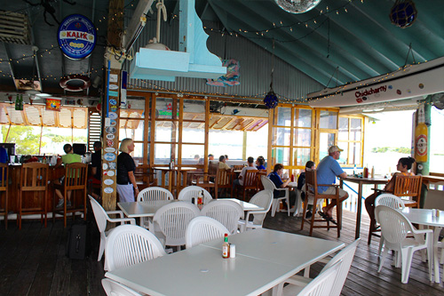 Inside of Snappa's, where you can enjoy beautiful harbour views