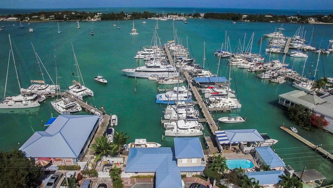 Harbour View Marina in Marsh Harbour, Abaco - aerial view
