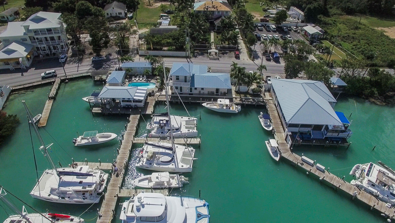 Harbour View Marina in Marsh Harbour, Abaco - aerial of the marina